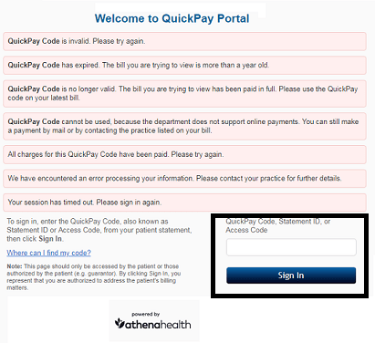 QuickPay Portal Sign-in