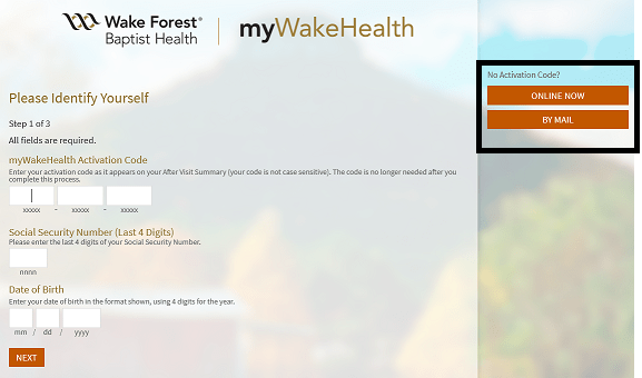 myWakeHealth Activation Code